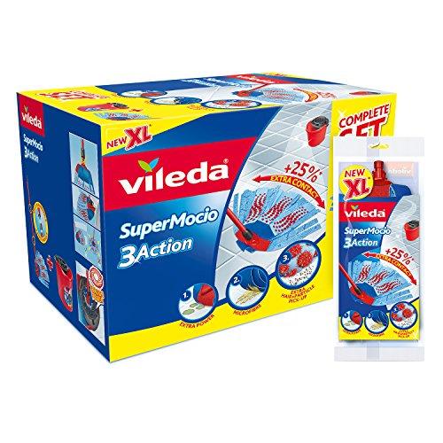 Vileda SuperMocio XL 3 Action Mop und Eimer Set, Microfaser, rot, 40 x 28.3 x 28.5 cm