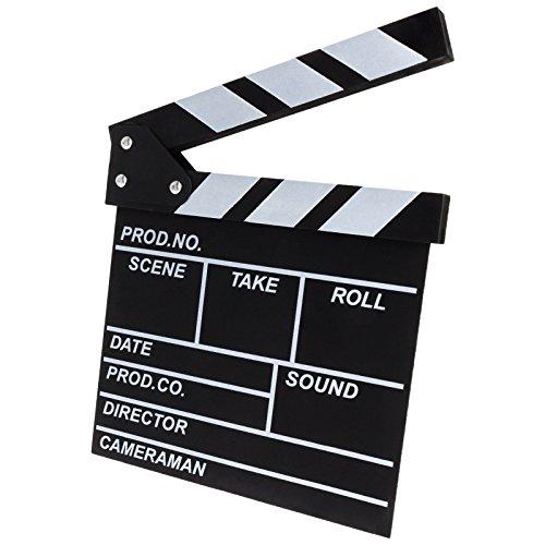 Regieklappe Regisseurboard Szenenklappe Synchronklappe Clapperboard Clapboard für TV Film Movie Cinema Kinoproduktionen Homevideo Kino Filmfans in Schwarz/Weiß 20 x20 cm (Movie Clapboard)