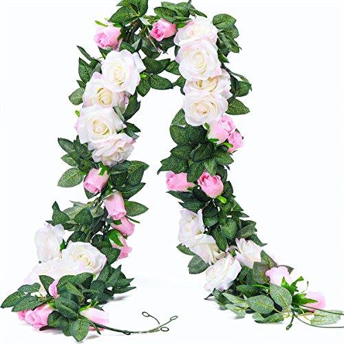 PARTY JOY Vintage Kunstblumen Seidenblumen Blumenstrauß Rose Blume Hochzeit Party Home Decor, Park von 10 White & Pink 2pcs (Ideen Parteien Den Für Winter)