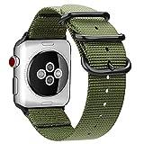 Fintie Armband für Apple Watch 44mm 42mm Series 4/3/2/1 - Premium Nylon atmungsaktive Sport Uhrenarmband verstellbares Ersatzband mit Edelstahlschnallen, Olive