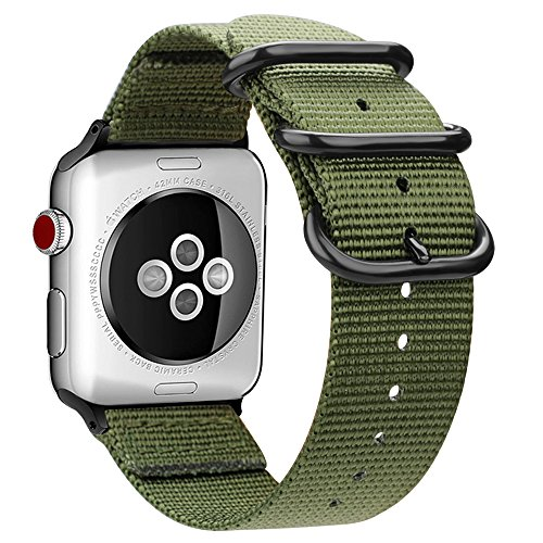 Fintie Correa para Apple Watch - 44/42mm Pulsera de Repuesto de Nylon Tejido Banda Ajustable con Hebilla de Metal para iWatch 44mm Series 4 y 42mm Series 3/2 / 1 Sport and Edition Reloj, Verde Oliva