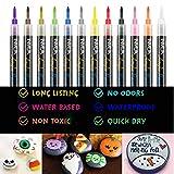 INMUA Acrylstifte 12 Farben, Steine Bemalen Stifte, Permanent Acrylstifte Marker Wasserfest für Kinder, Holz, Glasfarben, Scrapbook, DIY