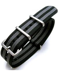 22mm NATO strap NATO22-NyJBBlack-B(UKD) - Correa de nailon , color negro (22)
