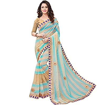 V.Clothy Women's Cotton Silk Saree With Blouse Piece (V_Sb_ Sarees For Women's Party Wear_Sky Blue) - Sky Blue 1 Saree + 1 Blouse