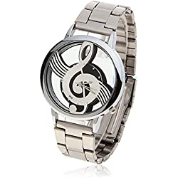 Tonsee Fashion Music Notation Quartz Watches Note Stainless Steel Analog Wristwatch