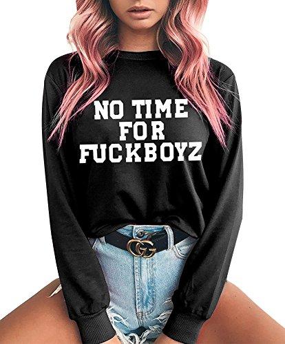 ShallGood Damen Frauen Kapuzenpullover Kurz Top Lange Ärmel NO TIME FOR FUCKBOYZ Later Print Vlies Hoodie Pullover Sweatshirt A Schwarz DE 34