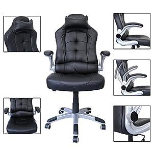 51ELCcoJ1YL. SS300  - huigou-HG-Racing-Silla-Silln-Giratorio-de-Oficina-Silla-ejecutiva-Sillones-de-Carreras-tapizados-de-Primera-Calidad-Ergonomica-Silln-de-Oficina-Ejecutivo-Ajustable-Capacidad-de-Carga-200-kg