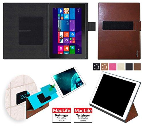 reboon Hülle für Dell Venue 10 Pro LTE 64 GB Tasche Cover Case Bumper | in Braun Leder | Testsieger