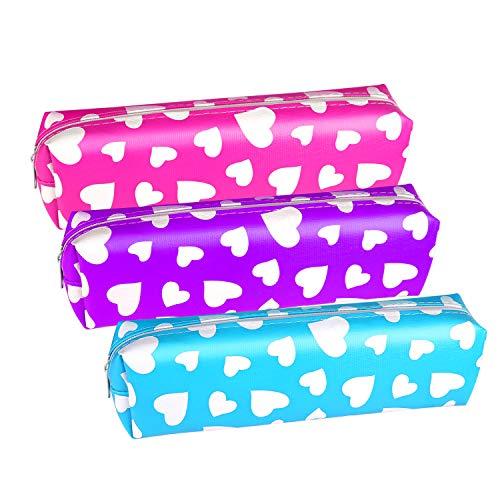 TUPARKA 3 Stücke Valentine Heart Pen Federmäppchen, Stifthalter Schreibwaren Beutel Tasche für Geschenk Austausch und Kinder Handwerk in der Schule oder zu Hause (3 Farben)