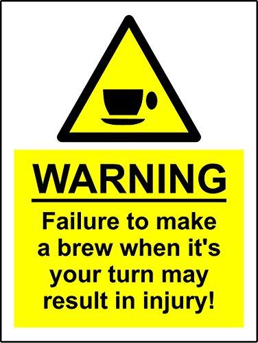 Lustiges Schild für die Kaffeemaschine am Arbeitsplatz im Stil eines Warnschildes zur Vermeidung von Chemie-Unfällen, selbstklebender Aufkleber aus Vinyl, A5, 150mm x 200mm.