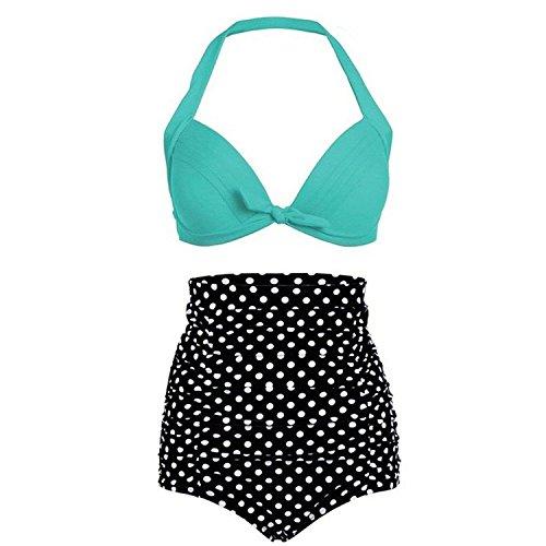 Gigileer Women Vintage 50s Pinup Rockabilly High Waist Retro Bikini Swimsuit Set-Halterneck