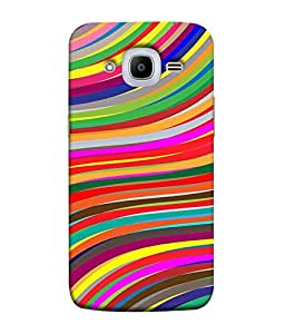 FUSON Designer Back Case Cover for Samsung Galaxy J2 (6) 2016 J210F :: Samsung Galaxy J2 Pro (2016) (Multi Colour Lines Pattern With Love Peace Crazy)