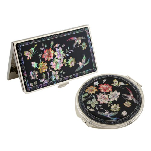 Set Miroir de Poche + Porte cartes de visite Nacre Collection fleur SAKURA