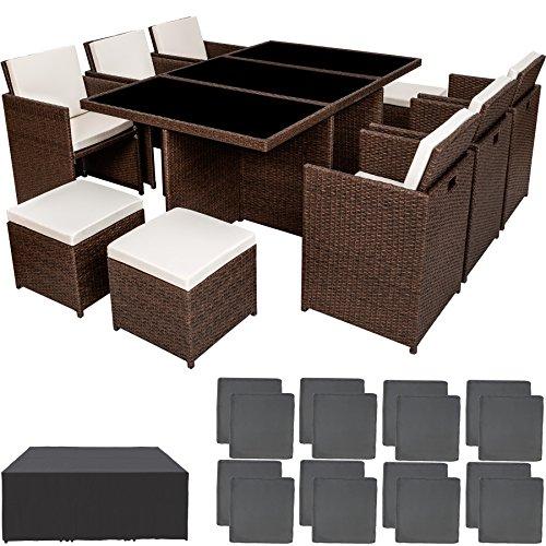 TecTake Poly Rattan Aluminium Gartengarnitur Sitzgruppe 6+1+4, Edelstahlschrauben - Diverse Farben - (Antik Braun | Nr. 401987)
