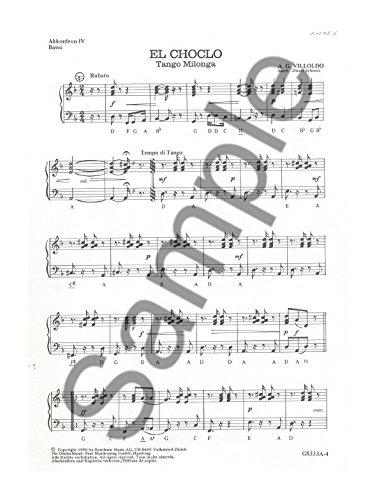 A. G. VILLOLDO: El Choclo–Tango Milonga–Akkordeon 4, Bass und Schlagzeug Teil. Noten für Akkordeon, Bass Gitarre, Drums