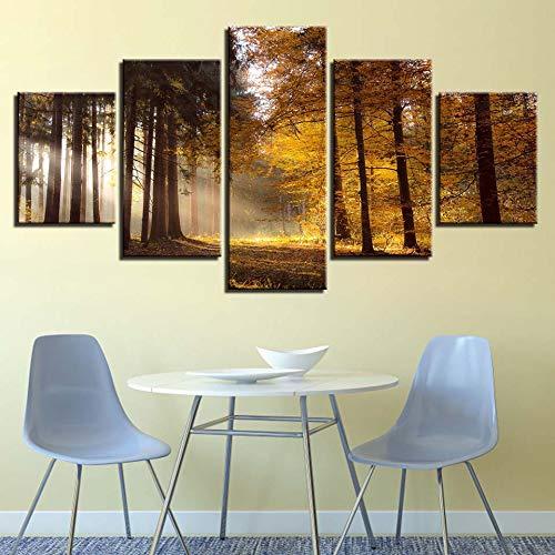 mmwin Moderne Leinwandbilder Wohnzimmer Korridor Decor 5 Stücke Wald Schnee HD Gedruckt Wandkunst Modulare Landschaft Poster