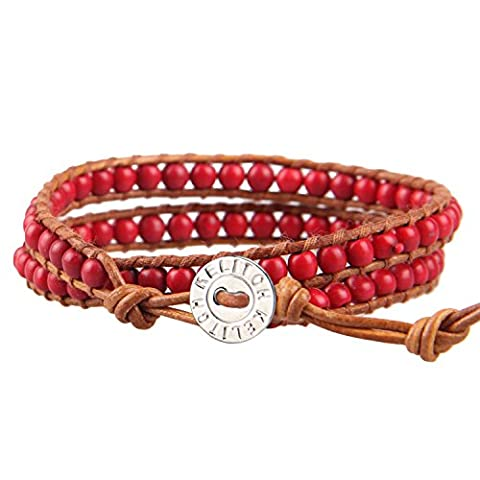 KELITCH 2 Strands Rouge Agate Pierre Perles Wrap Bracelet - Marron Cuir
