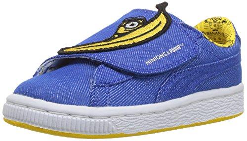 PUMA Baby Minions Basket Wrap Statement Leather Kids Sneaker, Lapis Blue-Lapis Blue-Minion Yellow, 5 M US Toddler -