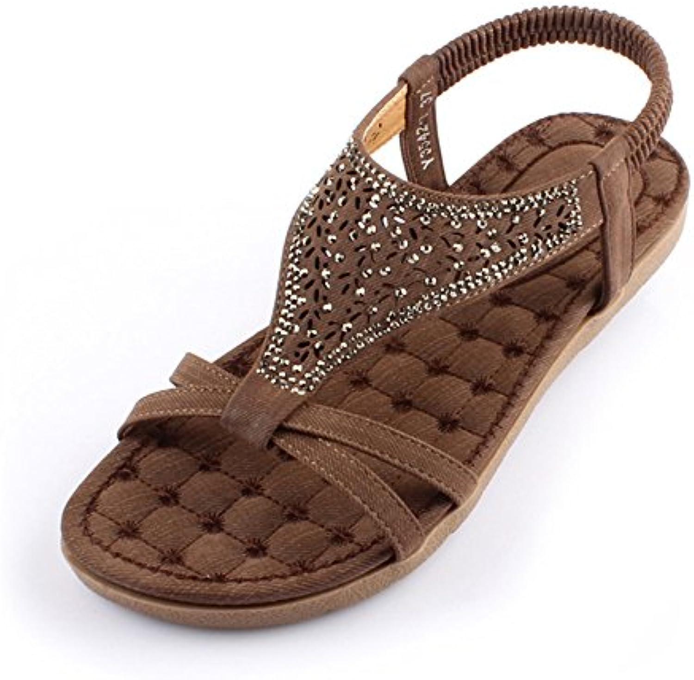 14bff47f27153f les pantoufles chaussures sandales sandales sandales haizhen confort d'été  pu décontracté croûton Marron / beige pour femmes (couleur  marron...b07bj95194 ...