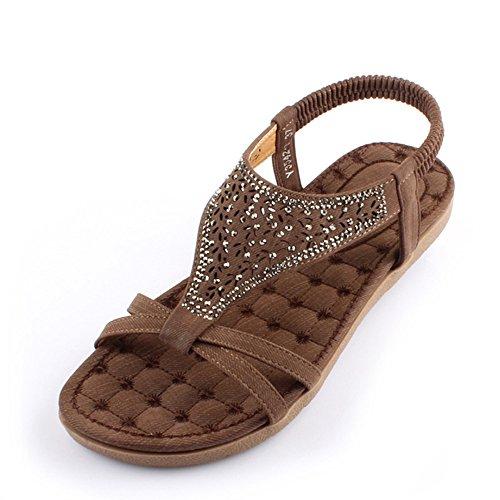 Estate Sandali Sandalo Summer Comfort PU Casual Tacco piatto marrone / beige Colore / formato facoltativo Marrone