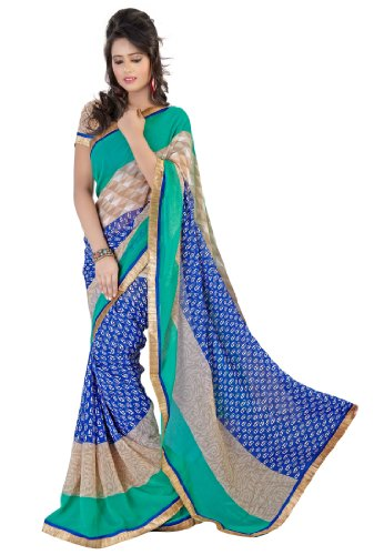 Fabdeal Women Faux Georgette Chiffon  Printed Saree with Blouse Piece  available at amazon for Rs.499