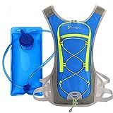 LeQeZe - Mochila de hidratación con bolsa de agua de 2 litros para hombres, mujeres y niños, ideal para actividades al aire libre para correr, senderismo, ciclismo, escalada, camping, carreras, esquí y caza, hydration backpack--Blue