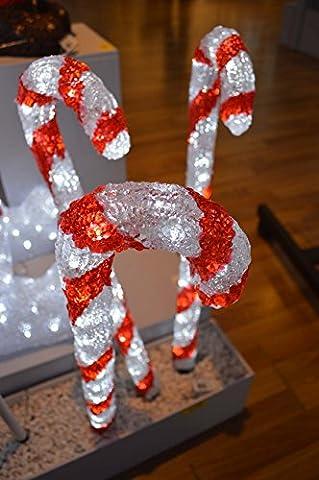 LED Light Up Candy Sticks 3 x 60cm Bright White Lights - Christmas