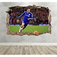 3D Eden Hazard Smashed Breakout Wall Sticker Boys Bedroom - Extra Large Landscape 100cm (w) X 70cm (h) preiswert