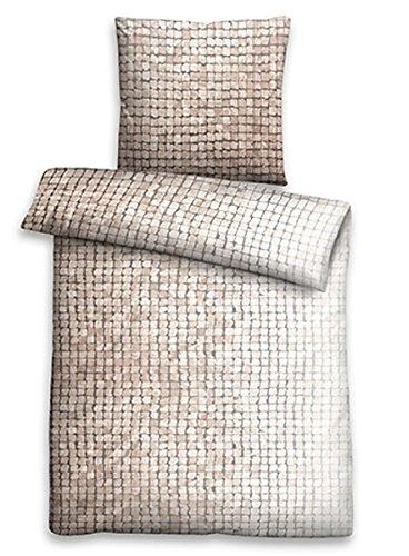 Biberna Linon Bettwäsche Mosaik 135x200 cm 44754-542 beige