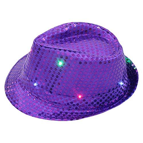 AZXAZ LED Jazzmütze Light Up Party Hut Cap für Hip-Pop Dance Unisex Paillettenhut Batteriebetriebenes Blinken Durchführen von Hüten für Disco Party Geburtstag (Lila) (Disco Tänzer Kostüm Kinder)