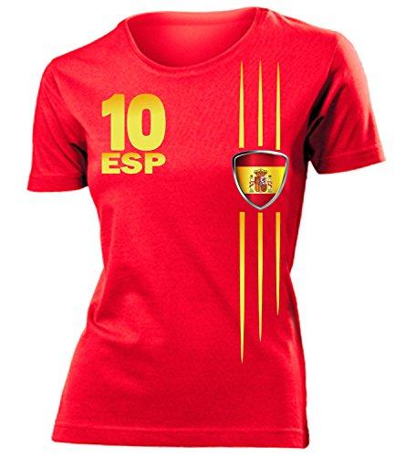 Spanien Fanshirt Streifen 3211 Damen T-Shirt (F-R) Gr. XL
