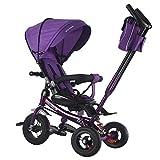 MOIMK 4 in 1 Dreirad Roller Dreirad für Kinder mit Sonnenverdeck, Rückenspeicher und abnehmbarem Griff,Purple