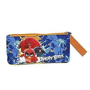 Estuche Escolar Niño Angry Birds – Bolsa para Lapices Estamoado Red Bomb Chuck y Terence – Practico Neceser Portatodo con Cremallera para la Escuela Guarderia Viaje – Azul – 10x21x8 cm – Perletti