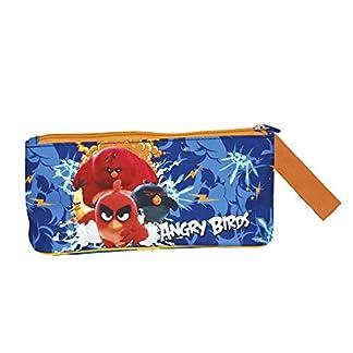Estuche escolar Niño Angry Birds – Bolsa para lapices de los personajes Red Bomb Chuck y Terence – Practico estuche portatodo con cremallera para la escuela y de viaje – Azul – 10x21x8 cm – Perletti