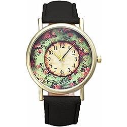 SSITG Women's Watch Floral Women Leather Band Analog Quartz Wrist Watch Gift Ladies 'Watch Gift Watch