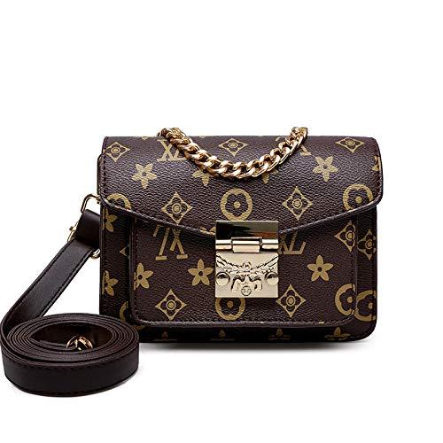 Ldyia Bag Frauen Druckkette Messenger Bag Retro-Schloss Druck Schulter kleine quadratische Tasche Trendtasche, A Abschnitt