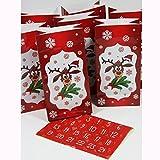 """Image of Adventskalender """"Rentier"""" mit 24 Tüten + 24 Sticker von 1- 24 zum Selbstbefüllen"""
