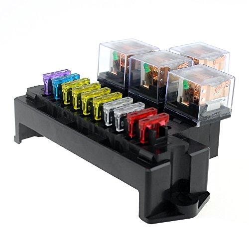 Leslaur 10-Wege-Sicherung Box 5-Pin Socket Base Relais Sicherungshalter Block mit 13Pcs Standard Blade Sicherungen Universal für Auto-Interieur-Teile - Standard Base Socket