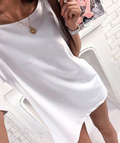 Damen Sommer Sexy Oberteile Bedruckt T-Shirt Tops Weiß