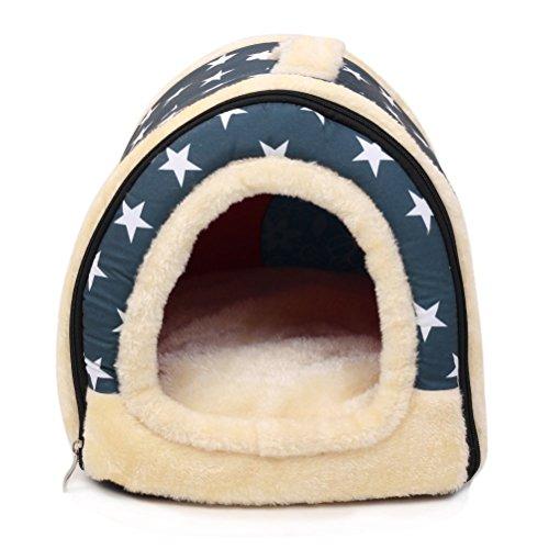 marbeine 2in 1Haus & Sofa Tier Vertraute, Maschine Waschbar Motiv weiß Sterne rutschfest faltbar Weich Warm Hund Katze Welpe Hase Pet Nest Höhle Haus Bett mit herausnehmbares Kissen Matratze Kaschmir, 3Größen