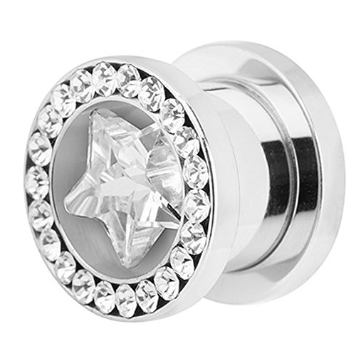 Für Xxl Männer Ohrringe (Piercingfaktor Flesh Tunnel Ohr Piercing Plug Ohrpiercing Schraub Kristall Stern XXL 12mm Clear)
