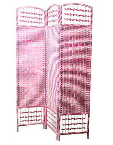 Home Line Biombo Separdor, Economico, en Color Blanco y Fucsia de Bambú Natural. 170x120 cm