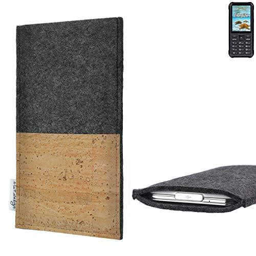 flat.design Handytasche Evora mit Korkfach für Energizer H20 - Schutz Case Etui Filz Made in Germany in hellgrau mit Korkstoff - passgenaue Handy Hülle für Energizer H20