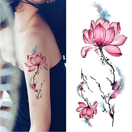 femmes-tatouage-temporaire-autocollants-de-tatouage-lotus-pattern-body-art-decal-waterproof-fake-tat