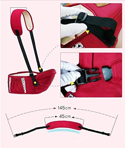 Babytrage atmungsaktiv Baumwolle Das Gesäß der Sitzträger Ergonomisches Design drei Arten von Möglichkeiten zu tragen herausnehmbare Sitze tragbar Multifunktions Babybauchtragen red