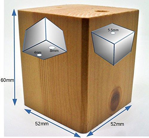 Pine Block (4x Füße für Holzmöbel aus Mahagoni und natürlicher Kiefer, für Sofas, Stühle, Sessel et cetera , natürliches holz, 60mm PINE BLOCK)