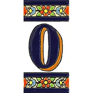 Schilder mit Zahlen und Nummern auf vielfarbiger Keramikkachel. Handgemalte Kordeltechnik fuer Schilder mit Namen, Adressen und Wegweisern. Persoenlich gestaltbarer Text. Design FLORES MEDIANO 10,9cm x 5,4 cm (Nummer null