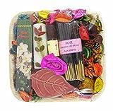 Auroshikha Rose Leaf Gift Set - Perfumed Potpourri Oil, Candle, Incense Sticks