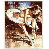 Yangll Abstraktes Bild Elegante Ballerina Mädchen Handgemalte Olis Malen Nach Zahlen DIY Zeichnung Auf Leinwand Digital Coloring Geschenke, Gerahmt 40X50cm