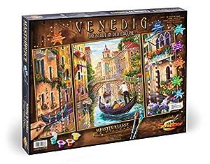 Noris Spiele Schipper 609260736-Pintura guiada por números-Venecia, la Ciudad en la Laguna, tríptico, 50x 80cm